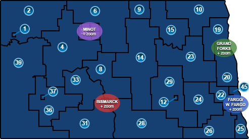 Map of North Dakota legislative districts